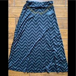 NWT Robert Louis Belted Black and Gray Long Skirt